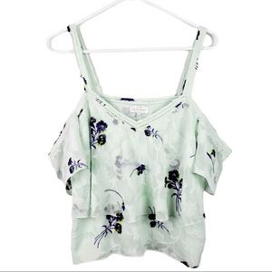 Lucky Brand Floral Tiered Cold Shoulder Blouse S